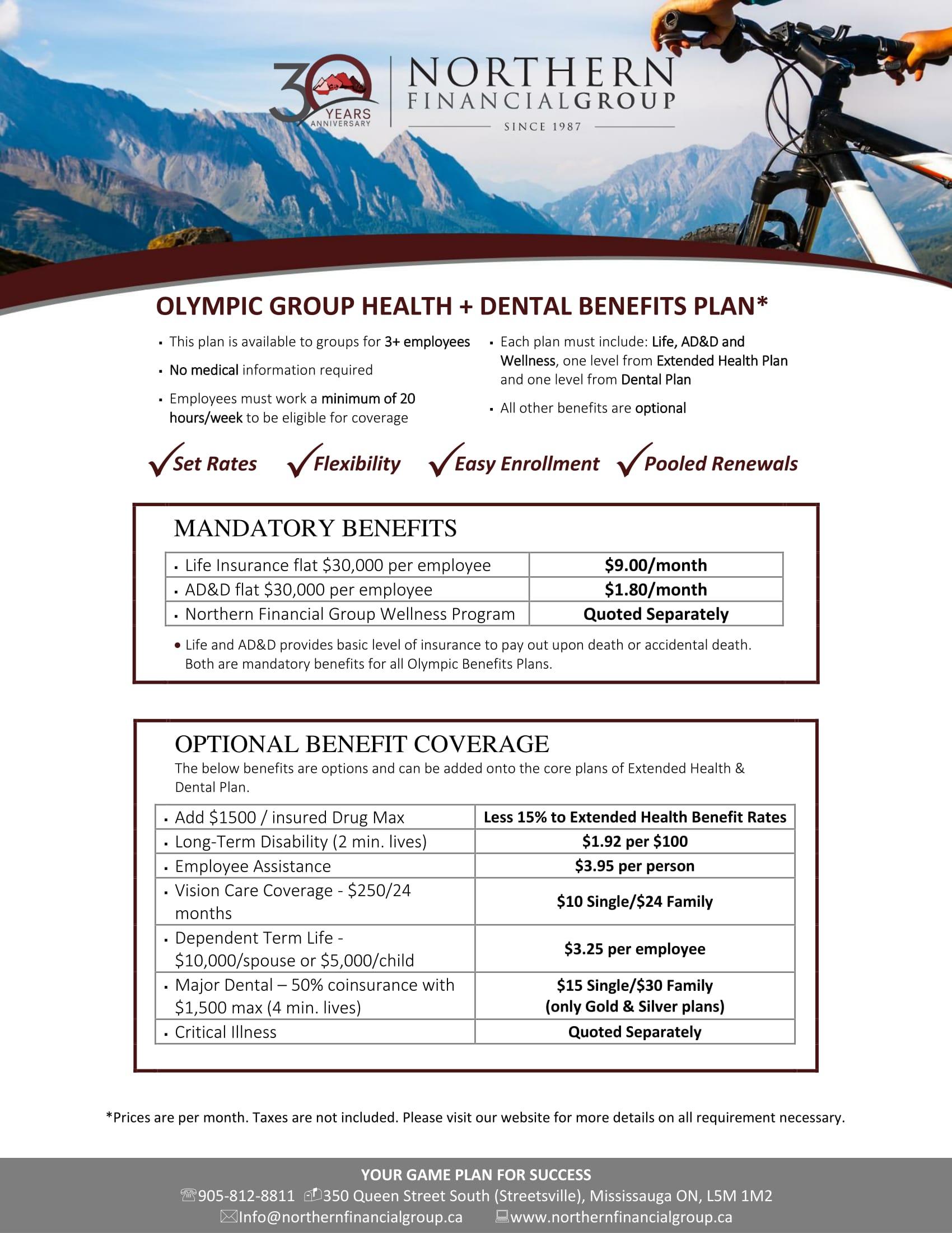 Olympic Group Benefits Plan Design Drug/Health Coverage and Dental Plans